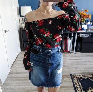 Good American Fishnet Denim Skirt Size 12/31